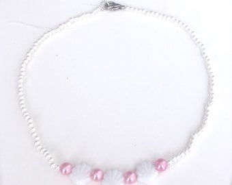 Sea shell pearl choker necklace - white/pink