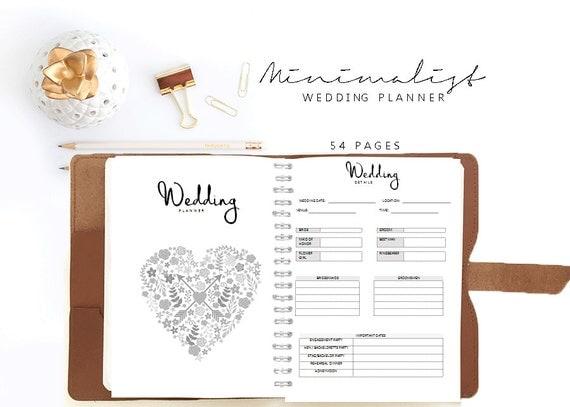 Printable Wedding Planner Binder Planning A Rustic: Wedding Planner Organizer Wedding Book Letter / A5 Planner