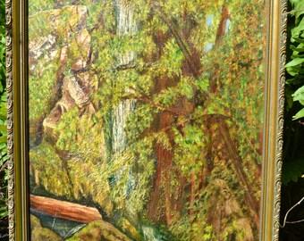 original oil painting on canvas nature forest signed goldleaf frame vintage calm serene  / Offered by poshparagons
