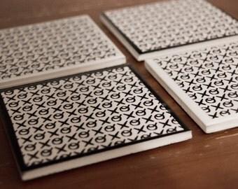 Set of 4 - Monochrome Ceramic Coasters