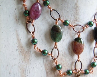 Tourmaline and scarab necklace