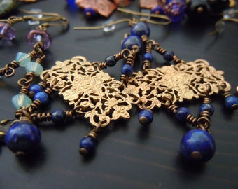 Earrings dangling genuine Lapis Lazuli and prints brass (filigrees) - Bohemian chic - made in France