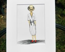 The Red Shoes, 5x7 print with white mat