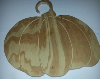 Unpainted Wooden Pumpkin CNC Carved Sign Fall Thanksgiving or Halloween Decoration