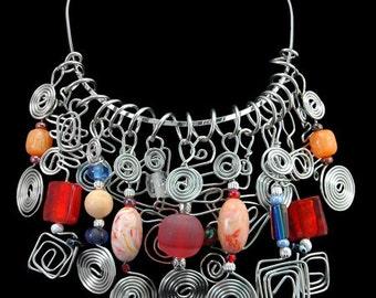 Necklace - Charm Cluster - Burst of Color