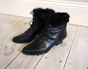 Vintage 80s Black Leather Faux Fur Trimmed Ankle Boots - EU 39 UK 6