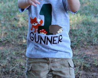 Woodland Animal Birthday Shirt