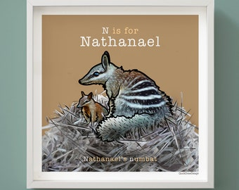 Personalised children's name and Numbat animal illustration, Letter 'N', A-Z of Animals, giclee print, 50 x 50 cm, bedroom wall art.