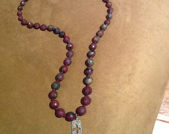 Ruby Zoisite necklace with diamond drop pendant