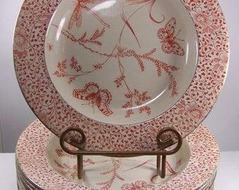 "8 Doulton Burslem Aesthetic Movement Porcelain 10"" Soup Bowls Dragonfly Moths and Butterflies"