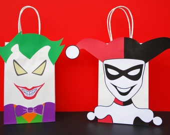 PRINTABLE:  Harley Quinn/ Joker Party Favor Bags/ Bag - Harley/ Joker Birthday Party Favors/ Treat/ Goodie/ Gift/ Candy Bags/ Bag/ Villains