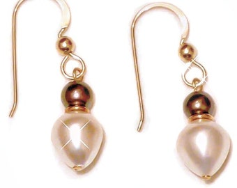 Pearl Teardrop 14K Earrings