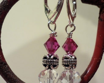 Fuchsia Swarovski Crystal Earrings with Sterling Silver Leverbacks