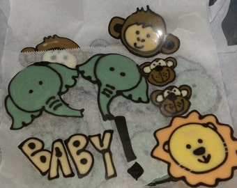 Chocolate plaque cake toppers