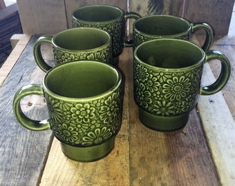 Set of Four (4) Vintage 1970s Retro Forrest Green Stack-able Coffee Mugs Floral Design / Green Stoneware Mugs / Made in Japan