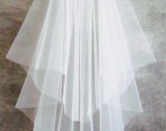 Sample Stock White Two Teir Tulle Wedding Veil, Raw Plain Edge fingertip length