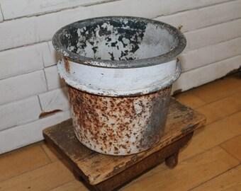 Vintage Industrial Metal Pot