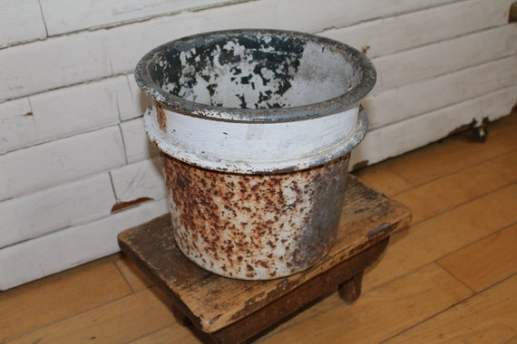 Vintage Industrial Metal Pot