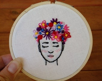 Flower Head Freehand Embroidered 4 inch Hoop
