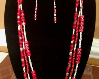 Red Wooden Bead with white and silver accent Necklace and earring set