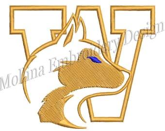 Washington Huskies Logo Machine Embroidery Design 5 Size