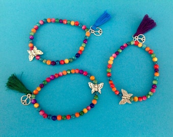 """Rainbow"" bracelet with butterfly duo"