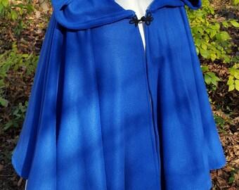 Short Fleece Cloak - Blue Full Circle Cloak Cape with Hood