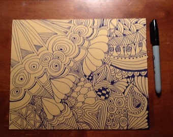 Blue on dark yellow Zentangle inspired art