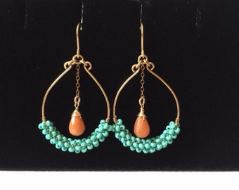 Sea Bead Aqua and Orange Hoop Earrings