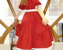 Layered red dress with polka dot from natural fabric - modal