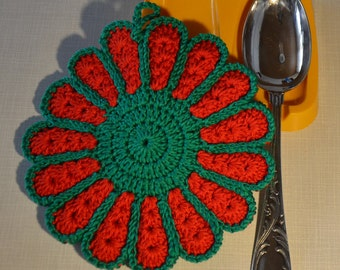 Colorful Flower Crocheted Pot Holder/ Hot Pad *Holly*
