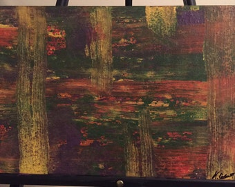 Signed Original Painting on Plywood by New Orleans Artist - Green, Yellow, Red, Purple