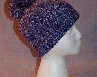 Pom Pom hat - blue tweed