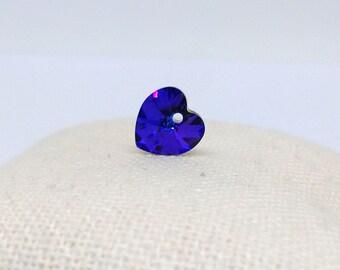 10mm Xilion Heart Pendant, Crystal Heliotrope, Crystal Drop, 6228 Swarovksi Pendant, Heart Charm, Blue Crystal, Loose Beads, Diy, RC9322