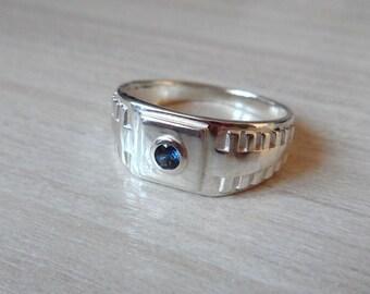 Gemstone Men Signet Ring, Men's Sapphire Ring, Sterling Silver Ring, Silver Sapphire Ring