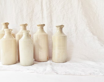 Antique Putty Stoneware bottles with pouring lip