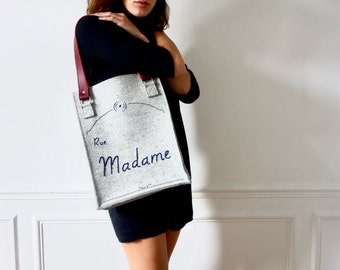 """Handbag, tote / grey felt and leather handles / embroidered """"Street Madam"""" / in paris / gifts for her / Paris"""