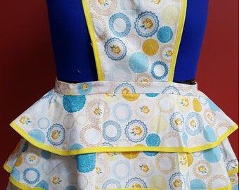 Yellow and Blue 3-tiered Apron