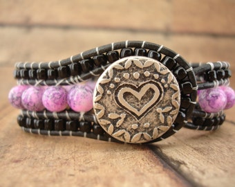 Pink and Black Heart Leather Wrap Bracelet