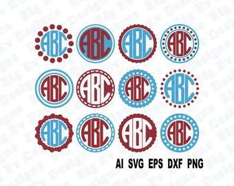 Circle Monogram Frames Set 2, Svg Cutting File, Svg, Dfx, Eps, Png, Pdf, Cricut Design Space, Silhouette Cameo, Digital Cut Files, Die Cut
