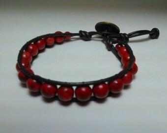Leather beaded bracelet, beaded leather bracelet, brown leather bracelet, genuine leather bracelet