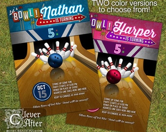 Bowling Invitation Bowling Invite Birthday Boy or Girl Bowling Alley Invitation, Tournament Bowling Night Retro Party Bash Printable Printed