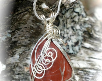 Red Jasper Gemstone Silver Wire Wrapped Pendant Necklace, Minimalist, Mother Earth Nature Inspired Boho Jewelry, One of a Kind Gemstone Gift