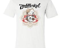 Men's Yoga Shirt / Cat Lover Shirt / Mens Bohemian Yoga Shirt / Mandala Lotus Zen Meditation Tee / Men's Jersey Tee / BUDDHAKAT Men Tshirt