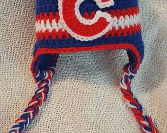 Chicago Cubs Crochet Hat 3-6 month
