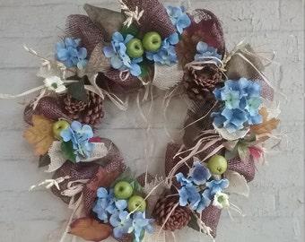 Blue Hydrangea Mesh Wreath