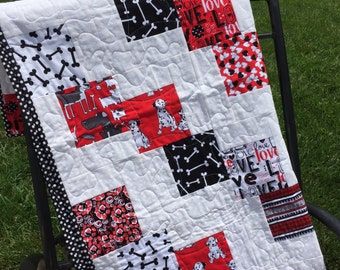 Red, black and white lap quilt, baby quilt, wheelchair quilt, toddler quilt, dalmations.