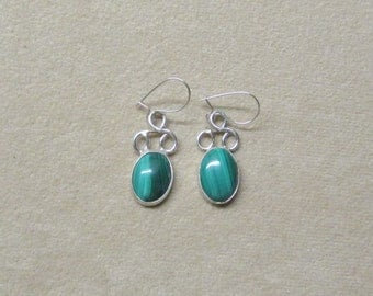 Gorgeous Malachite STERLING silver drop earrings.