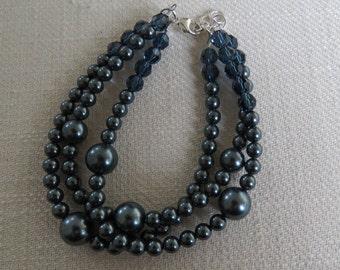 Swarovski Tahitian Pearl Bracelet - Triple Strand