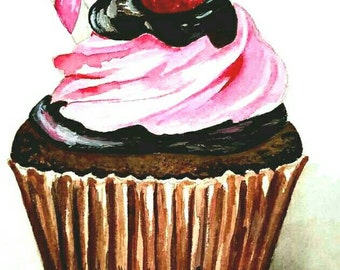Chocolate Rasberry Cupcake- 5x7 Original Watercolor Commission